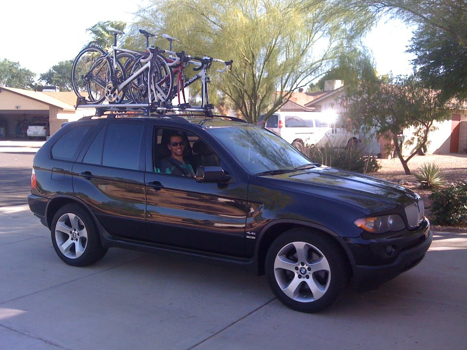 Bmw X3 Roof Rack Cross Bars X5 with roof mounted bike racks - Xoutpost.com