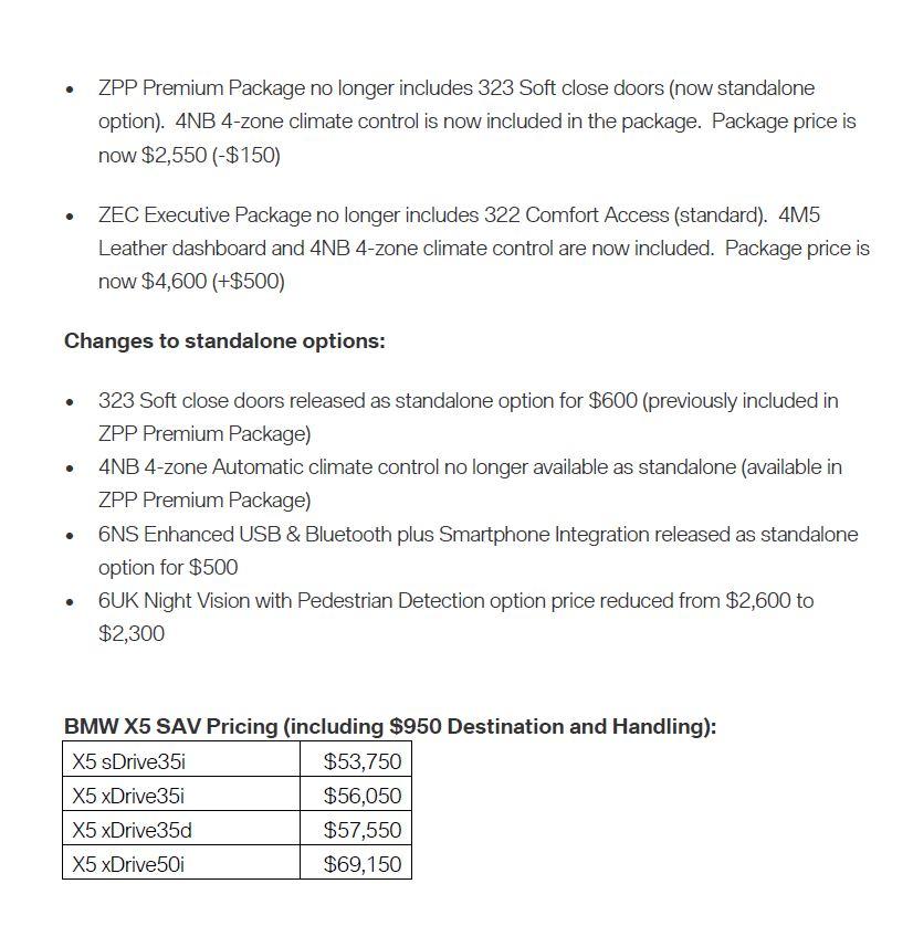 2015 Bmw X5 Transmission: 2015 X5 Gets Improved N55, Pkg. Price Reductions, Std